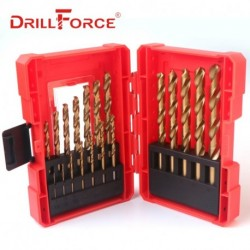 19PCS/Set 1.0-10mm Titanium Drill Bits High Speed Steel HSS M2 Fully Ground Twist Drill Bits For Cast Iron Metal Wood